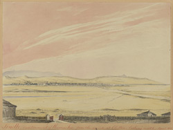 N. view of the cantonment, Karachi, from the sea shore at Clifton (Sind).  April 1851